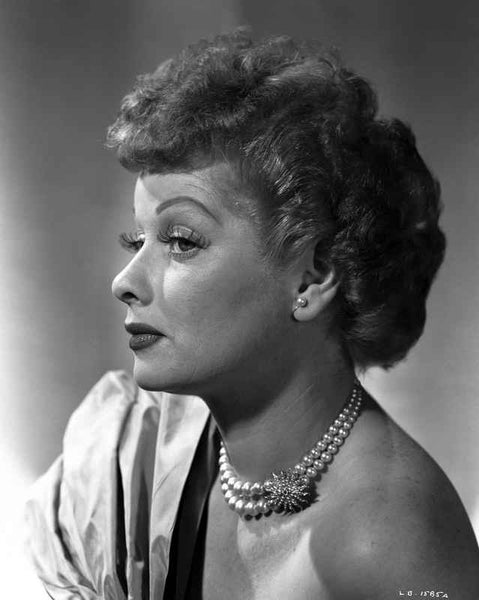 Lucille Ball Posed Side View in Close Up Portrait Premium Art Print