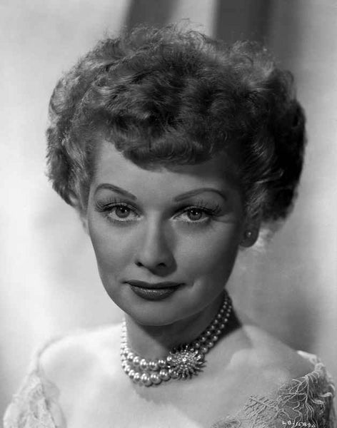 Lucille Ball Close Up Portrait with Necklace Premium Art Print
