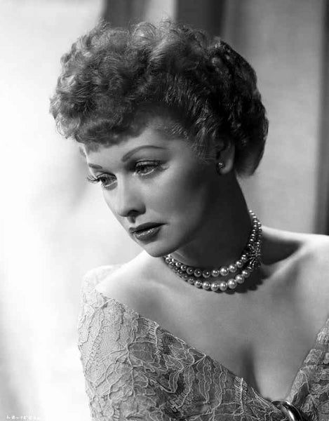 Lucille Ball Posed with Pearl Necklace Premium Art Print