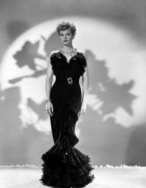 Lucille Ball standing in Black Dress Premium Art Print