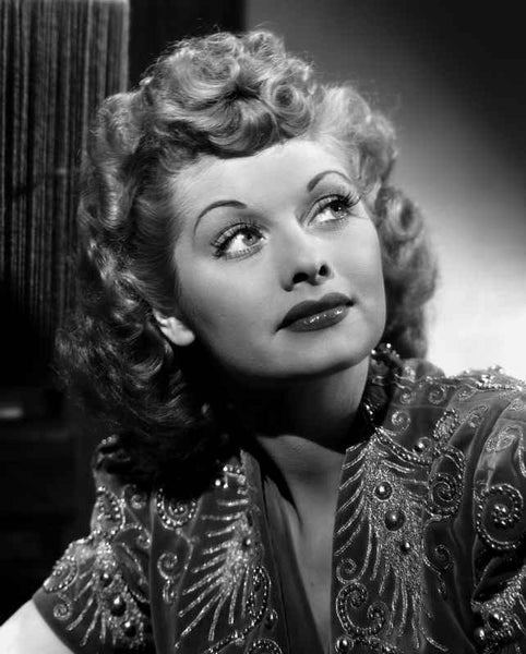 Lucille Ball Looking Up in Blouse Portrait Premium Art Print