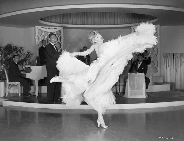 Lucille Ball Dancing in White Gown with One Leg Raise Premium Art Print
