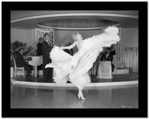 Lucille Ball Dancing in White Gown with One Leg Raise High Quality Photo