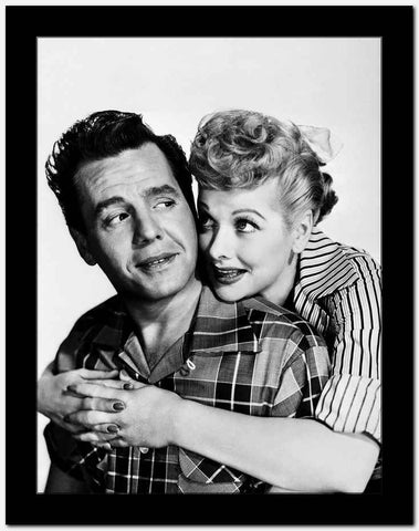 Lucille Ball hugging in Stripes High Quality Photo