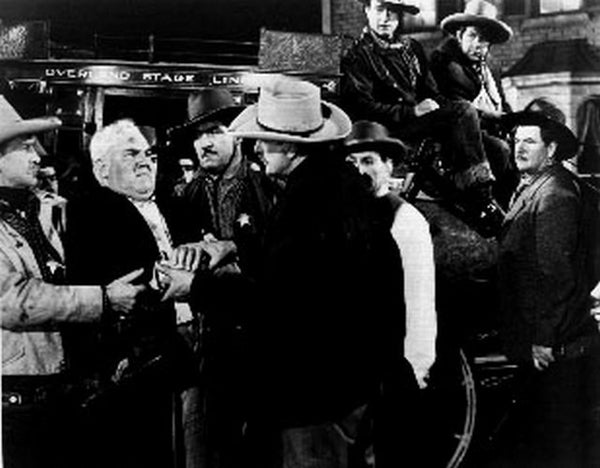 Stagecoach Men Arguing Scene Excerpt from Film in Black and White Premium Art Print