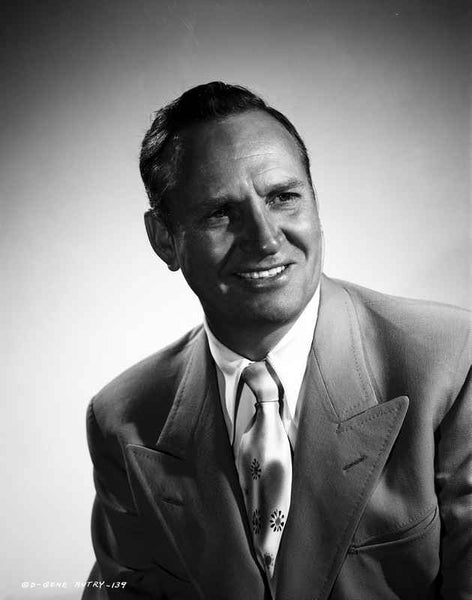 Gene Autry smiling in Suit with Gray Background Premium Art Print