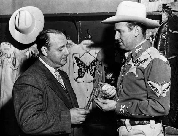 Gene Autry Talking to a Man in Suit Premium Art Print
