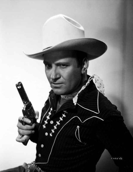 Gene Autry Posed in Cowboy Outfit and Holding Gun Premium Art Print