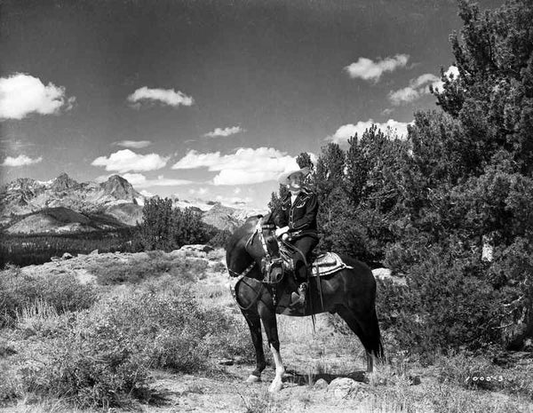 Gene Autry Riding a Horse in Black and White Portrait Premium Art Print