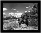 Gene Autry Riding a Horse in Black and White Portrait High Quality Photo