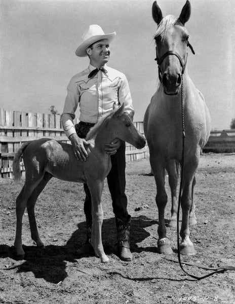 Gene Autry smiling with a Horse and Pony Premium Art Print