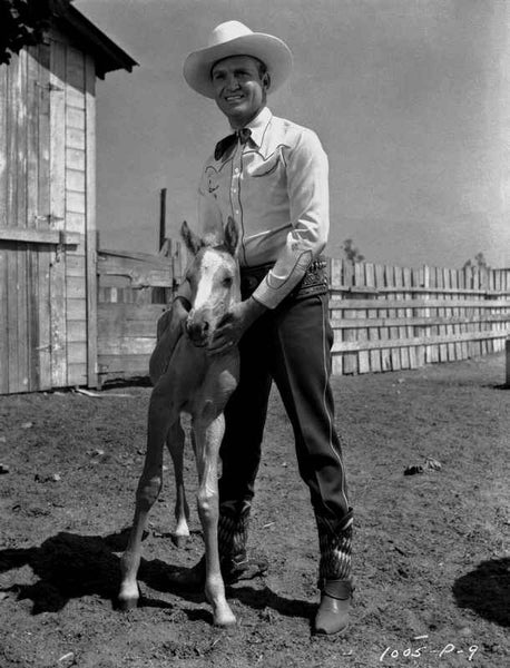 Gene Autry Posed with a Pony Premium Art Print