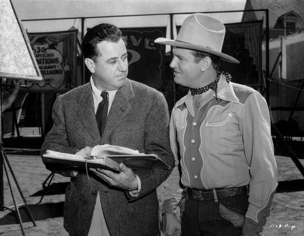 Gene Autry Talking to a Man Holding a Book Premium Art Print