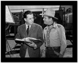 Gene Autry Talking to a Man Holding a Book High Quality Photo