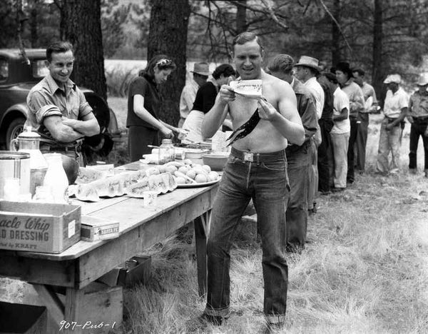 Gene Autry Eating in Black and White Premium Art Print