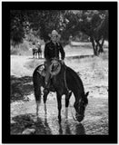 Gene Autry Seated on Fence with Horse High Quality Photo