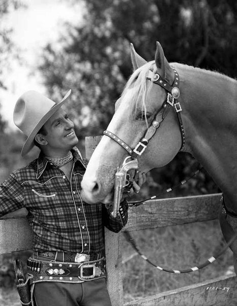 Gene Autry Petting a Horse in Western Outfit Premium Art Print