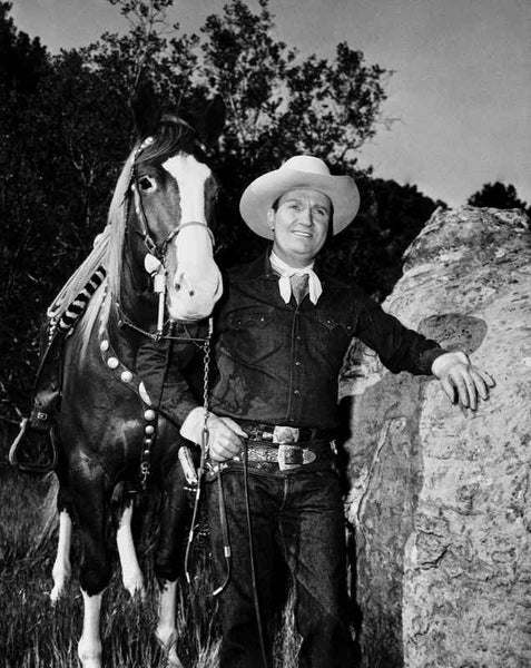 Gene Autry Leaning on a Big Rock Premium Art Print