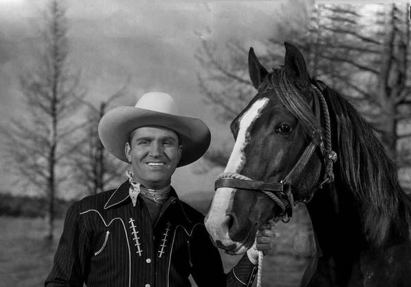 Gene Autry smiling with Horse Premium Art Print
