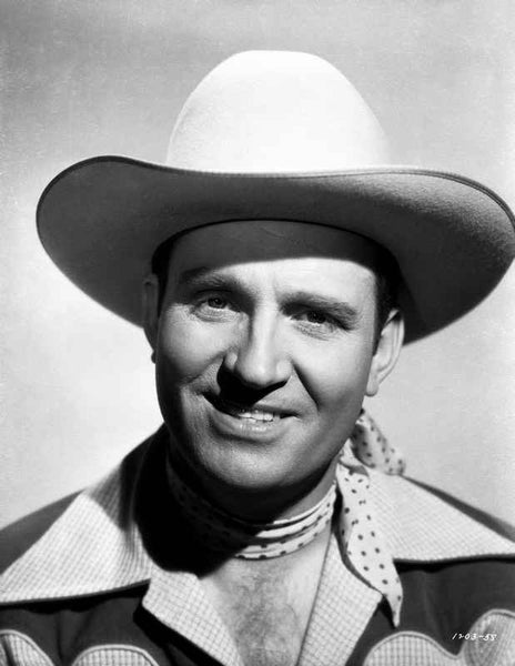 Gene Autry smiling with Gray Background Premium Art Print