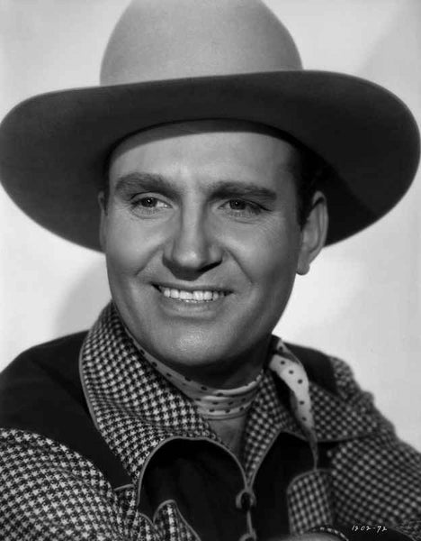 Gene Autry smiling in Checkered Shirt and Cowboy Hat Premium Art Print