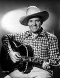 Gene Autry Playing the Guitar in Black and White Portrait Premium Art Print