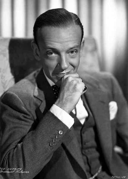 Fred Astaire Seated on Chair in Black and White Premium Art Print