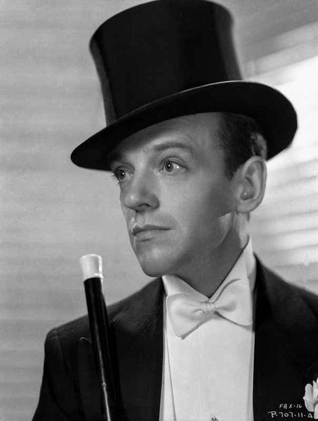 Fred Astaire Posed in Suit with Top Hat Black and White Premium Art Print