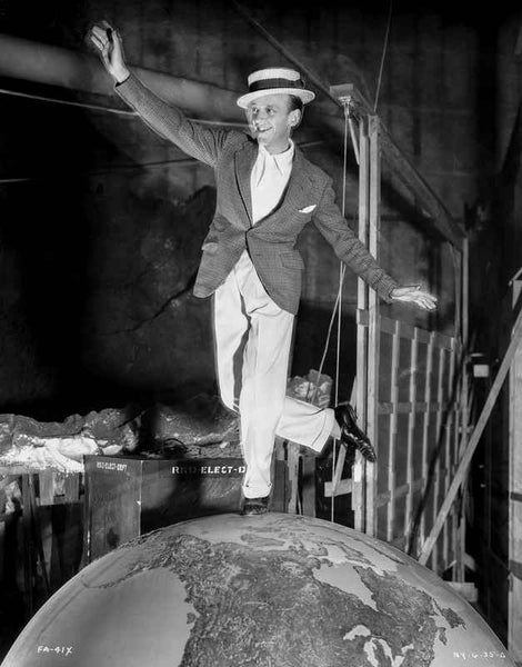Fred Astaire Dancing on Top of Globe in Black and White Premium Art Print