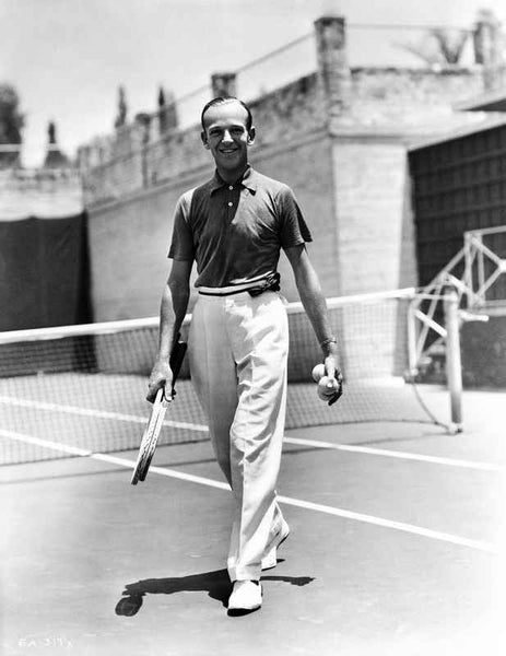 Fred Astaire Holding Tennis Racket in Black and White Premium Art Print