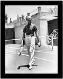 Fred Astaire Holding Tennis Racket in Black and White High Quality Photo