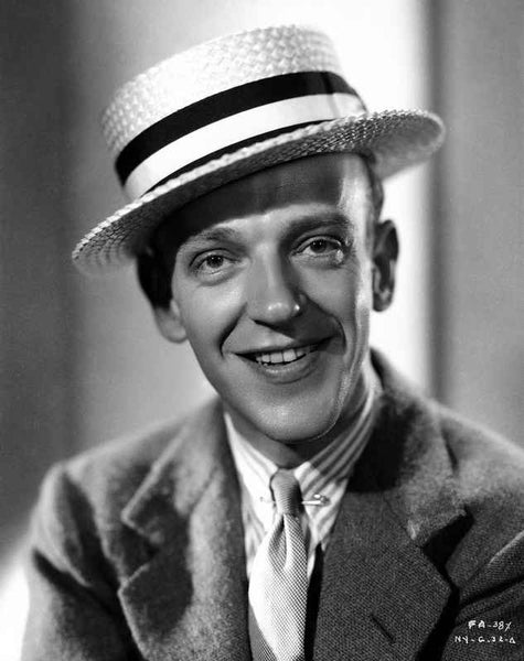 Fred Astaire smiling in Black and White Portrait Premium Art Print
