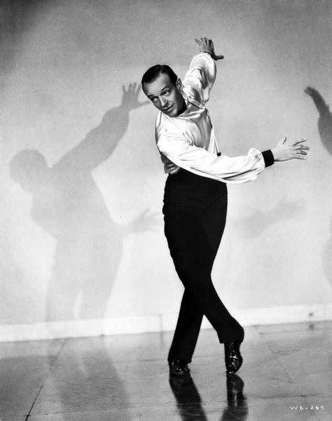 Fred Astaire Dancing Black and White Premium Art Print