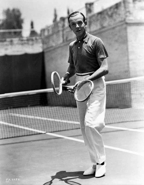 Fred Astaire Holding a Tennis Racket in Black and White Premium Art Print