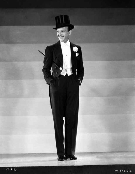 Fred Astaire in Tuxedo and Top Hat in Black and White Premium Art Print