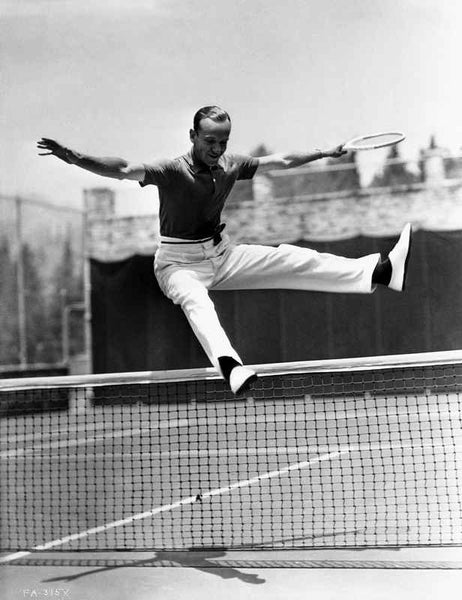 Fred Astaire Leaped Over Tennis Net in Black and White Premium Art Print