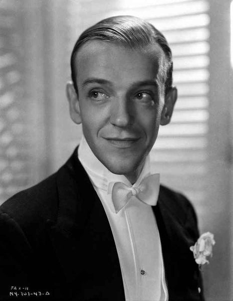 Fred Astaire in Suit and White Bow Tie in Black and White Premium Art Print