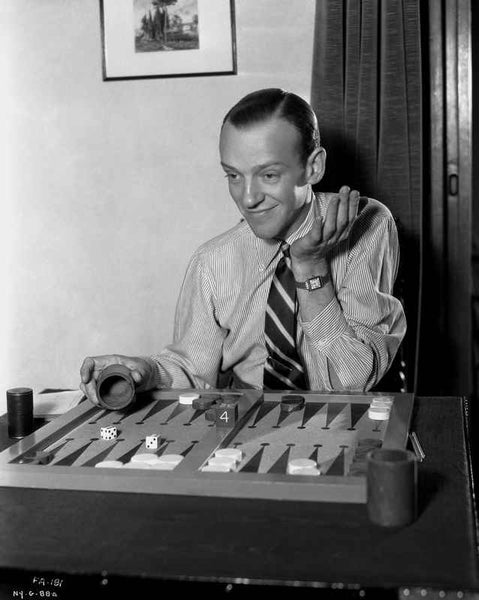 Fred Astaire Playing Backgammon in Black and White Premium Art Print