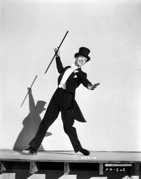 Fred Astaire Dancing in Tuxedo and Top Hat in Black and White Premium Art Print