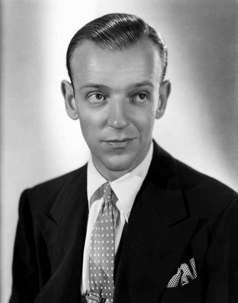 Fred Astaire Slightly Smirking with Suit in Black and White Premium Art Print