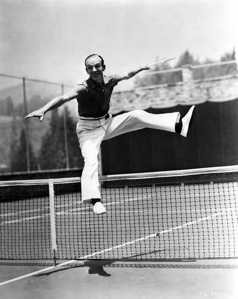 Fred Astaire Jumped Over Tennis Net in Black and White Premium Art Print