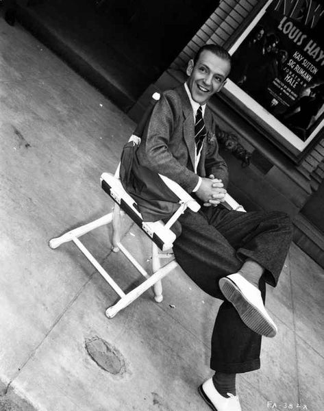 Fred Astaire Seated on Chair with a Smile in Black and White Premium Art Print