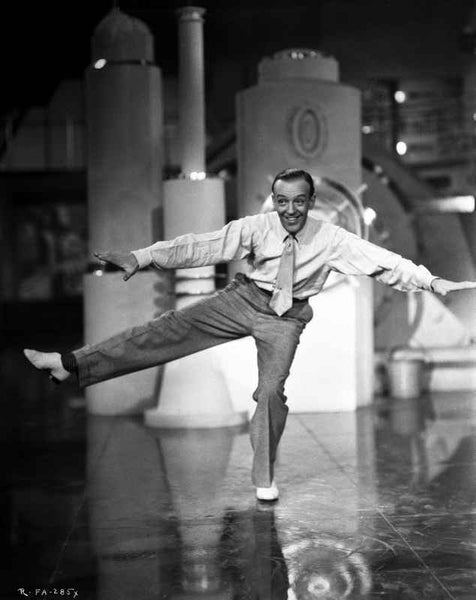 Fred Astaire Dancing in One Leg in Black and White Premium Art Print