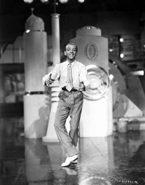 Fred Astaire Dancing in White Shirt and White Shoes Premium Art Print