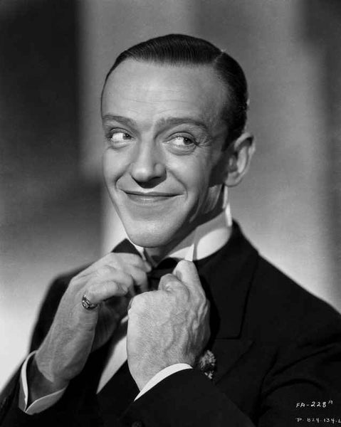 Fred Astaire Fixing Bow Tie in Black and White Premium Art Print