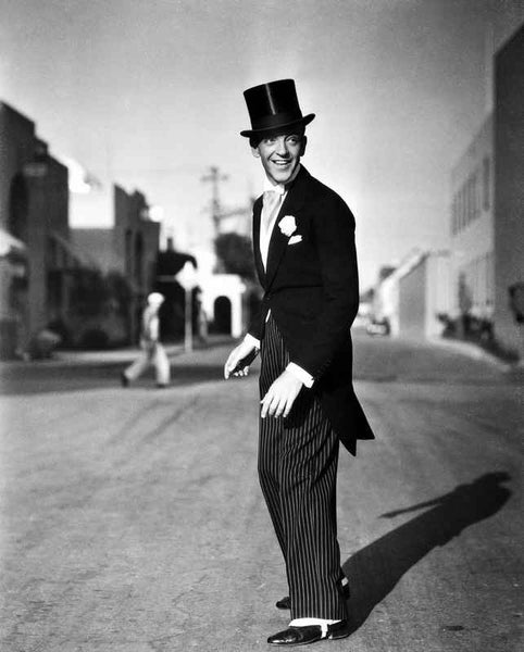 Fred Astaire standing in Top Hat, Tails and White Tie Premium Art Print