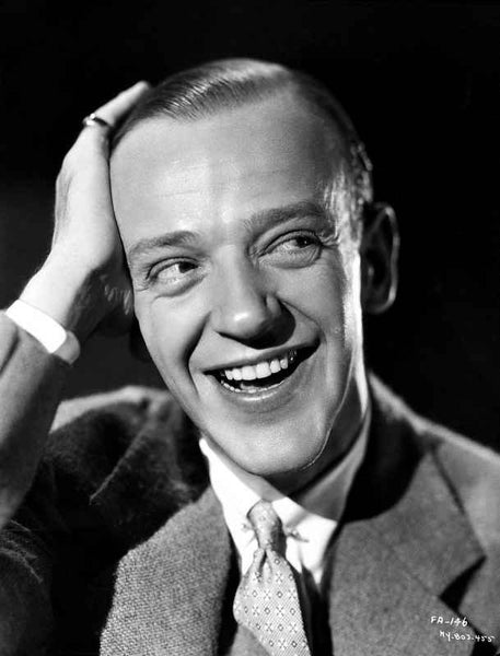 Fred Astaire laughing with Hand on Head in Black and White Premium Art Print