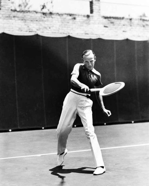 Fred Astaire Playing Tennis in Black and White Premium Art Print