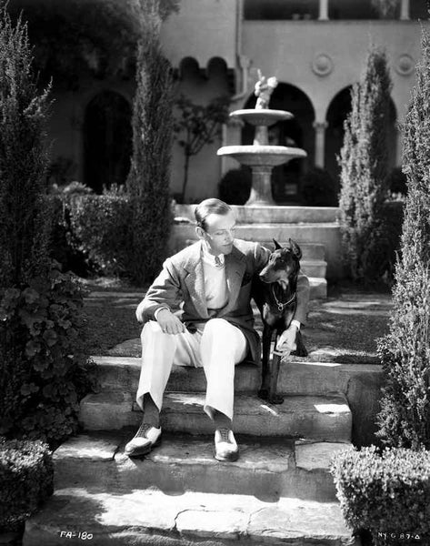 Fred Astaire Seated on Stairs in Black and White Premium Art Print
