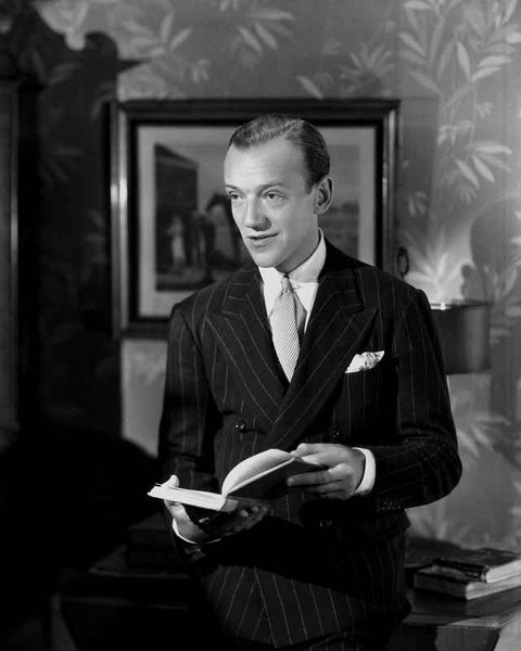 Fred Astaire Holding a Book in Black and White Premium Art Print